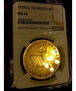"""MEXICO 1828 GO MJ """"FINEST OF ONLY 4 KNOWN!"""" 8 ESCUDOS NGC 61 GOLD COIN - $9,950.00"""