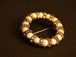 "Vintage Brooch Pin 1.5"" Round aurora borealis Rhinestone & white plastic... - $17.99"