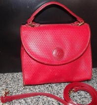 Excellent Vintage Red Leather Signature Liz Claiborne Convertible Handbag - $17.42
