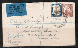 SOUTH AFRICA 1935 REGISTERED AIRMAIL COVER to LONDON (5/FEB/35)  (OS-269)  - $8.91