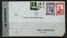 MOZAMBIQUE SCOTT 284,286 & 294 on 1945 AIRMAIL CENSOR COVER (17/4/45)  (... - $11.83