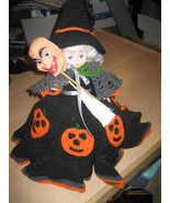 """Halloween Witch w/ Broom & Alternate Face Figure 15"""" Tall Hand Made w/Stand - $19.99"""