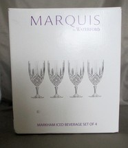 NIB (4) Waterford Marquis Markham Iced Beverage Glass Stemmed Italy  - $49.00