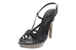 Jessica Simpson New Womens Black Leather Platform Strappy Sandals Heels   10 - $29.99