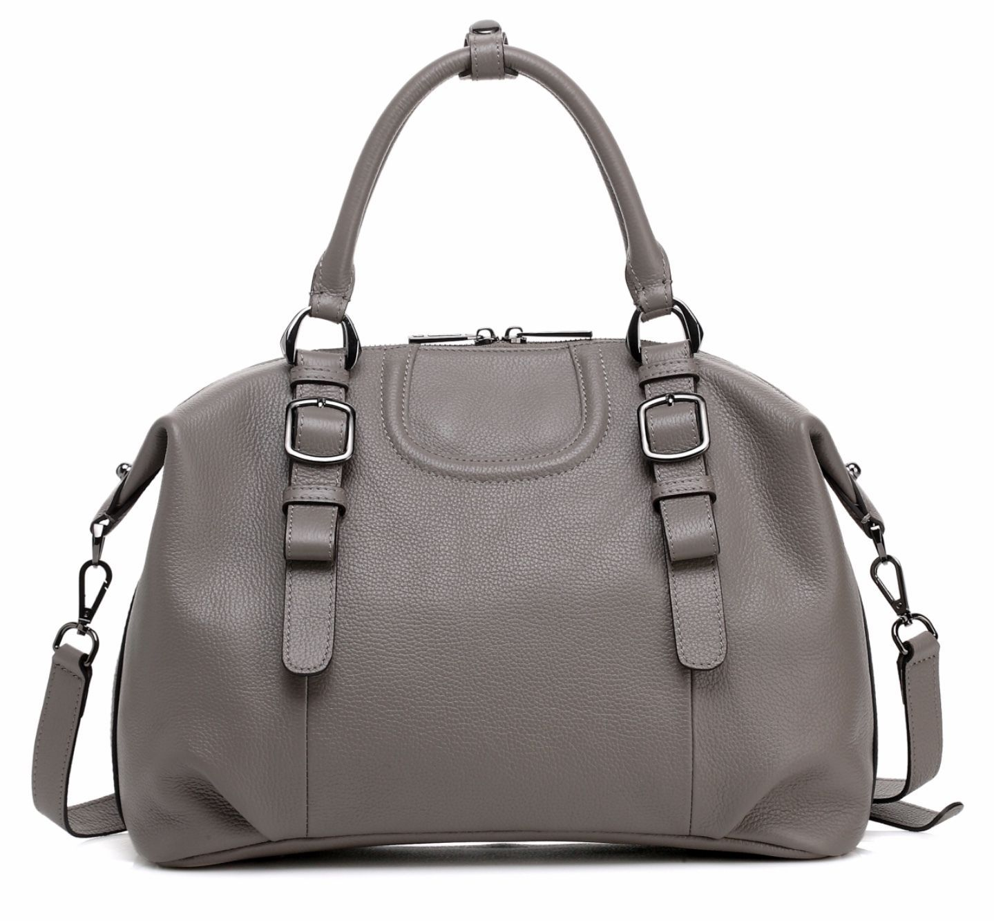 New Gray Pebbled Italian Leather Handbag Satchel Shoulder Bag