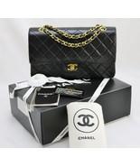 CHANEL Black LAMBSKIN Leather Vintage 10