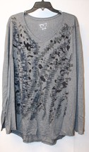 NEW JMS WOMENS PLUS SIZE 4X 28W GRAY ABSTRACT PAINTING SHIRT TOP W LONG ... - $16.44