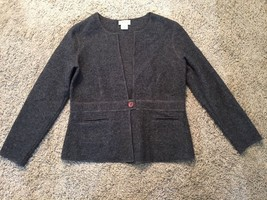 Women's Talbots Petites Gray Wool, 1-Button Cardigan Sweater/Jacket, Size M - $33.99