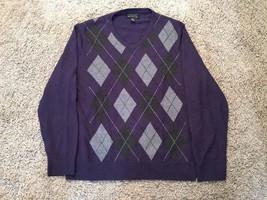 Mens INC International Concepts Merino Wool Blend Argyle V-Neck Sweater,... - $27.50