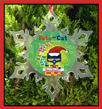 Pete The Cat Christmas Ornament - X-MAS Snowflake Ornament - $12.95
