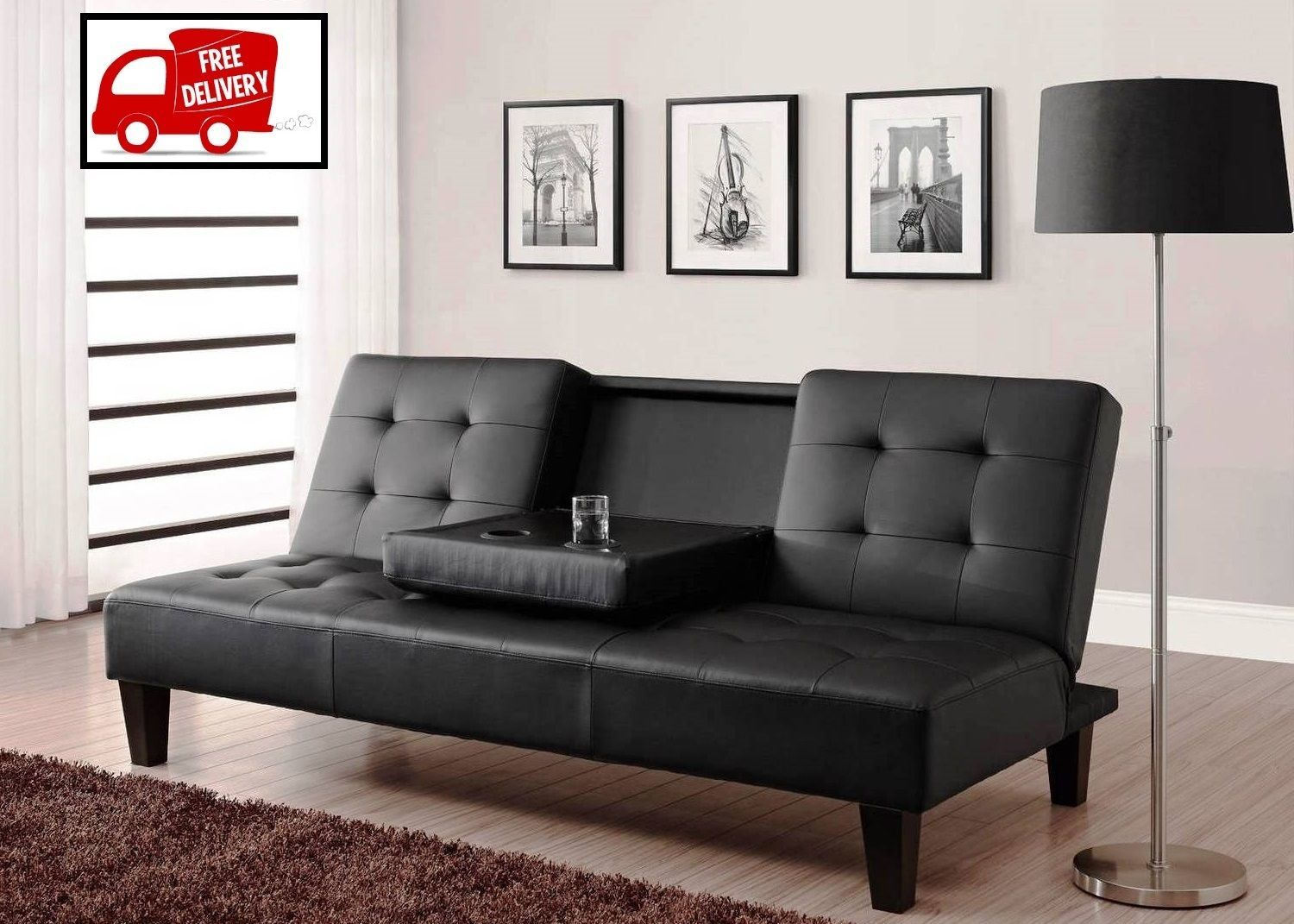 Leather futon sofa bed couch black upholstery convertible for Sofa bed heaven