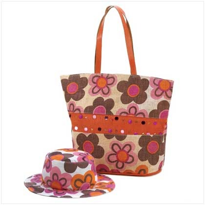 Home ? CritterCreekRanchs booth ? Floral Design Hat And Bag Set