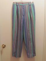 Talbots Petites Sz 8 Striped Pants Side Pockets Belt Loops Pleats Front Zipper  - $7.99