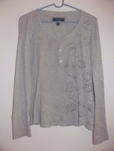 American Eagle Outfitters Live Your Life (Junior?) Sz Large Top Gray W/Flowers - $7.99