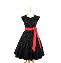 Damask Vintage Inspired Black Full Circle Dress - $59.95