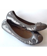 Coach Chelsey Ballet Flats Buttery Soft Leather Metallic Pewter Gently U... - $46.52