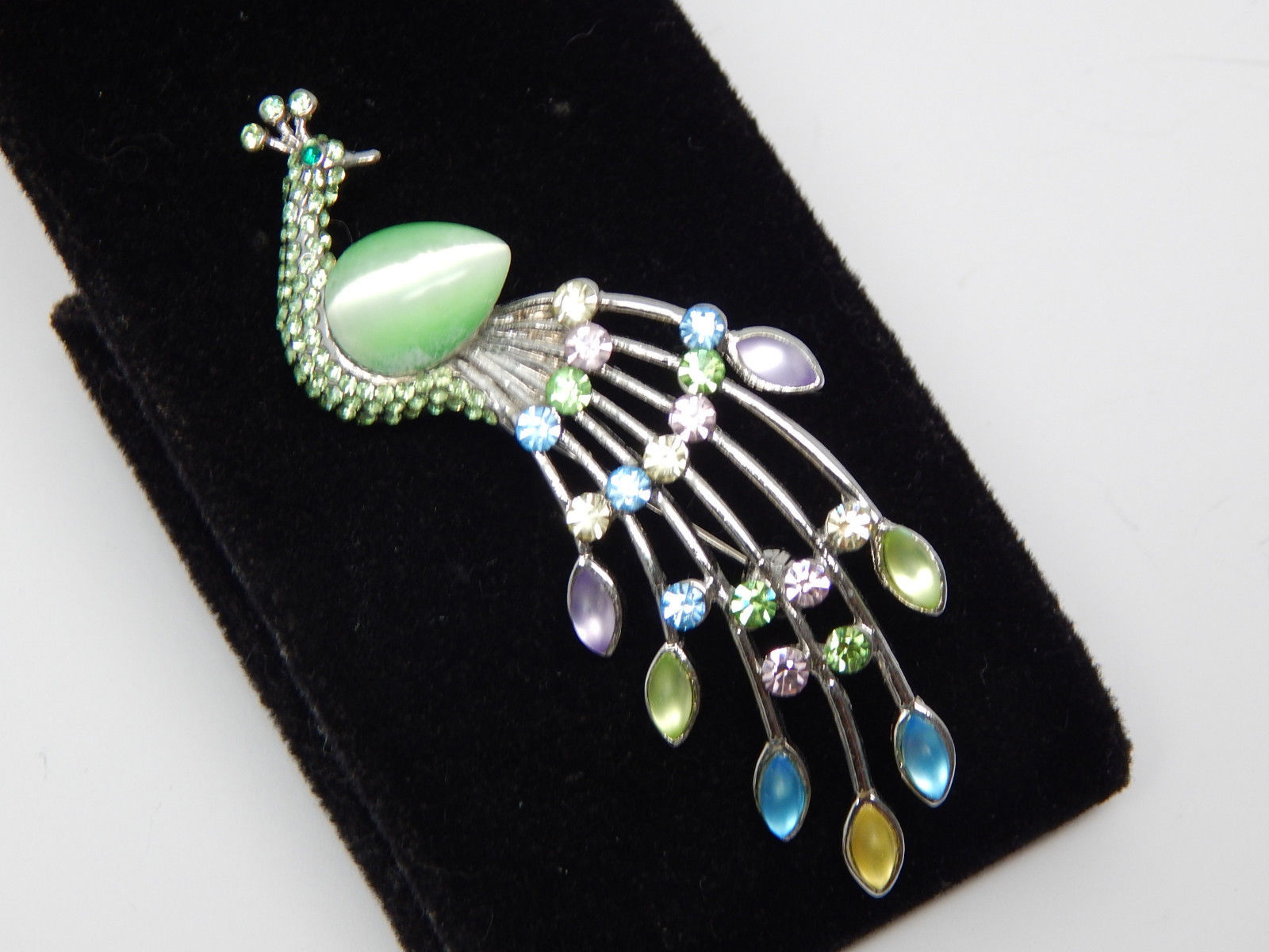 Primary image for Colorful PEACOCK BROOCH Pin in Silver tone with Rhinestones and Moonglow stones