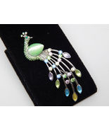 Colorful PEACOCK BROOCH Pin in Silver tone with Rhinestones and Moonglow... - $22.00