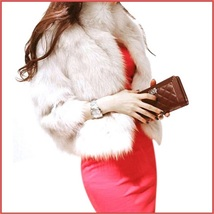Luxury Three Quarter Sleeved Short Waisted Rabbit Faux Fur Evening Coat Jacket