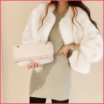 Luxury Three Quarter Sleeved Short Waisted Rabbit Faux Fur Evening Coat Jacket image 2