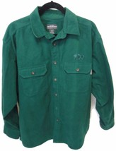 Woolrich Shirt Large Thick Green Button Down ABC Embroidered Long Sleeve L - $39.55