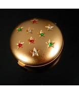 Vintage Perfume Compact locket Star rhinestone gold mirror compartment S... - $55.00