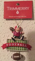 Trimmerry FOOTBALL KID With Dangle Football detail Holiday Ornament  - New - $9.94