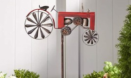 "63"" Rustic Iron Vintage Tractor Design Wind Spinner Double Pronged Garden Stake"