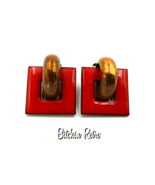Matisse Vintage Copper and Red Enamel Earrings  Mid Century Modern Style - $25.00