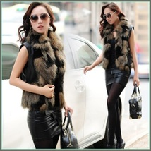 Tawny Long Hair Fox Faux Fur Patchwork On Black Faux Leather Vest Coat Jacket