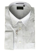 NWT Joseph Abboud PROFILE Mens Ivory Gray Stripe Button Up Dress Shirt J... - $43.79 CAD
