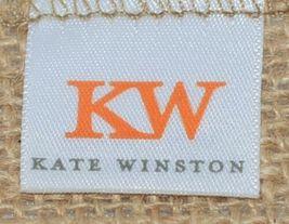 Kate Winston Brand Brown Burlap Monogram Black White R Garden Flag image 4