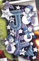 Bucilla Joy Snowmen Snowman Purple Blue White Christmas Felt Stocking Kit 86328 - $174.95