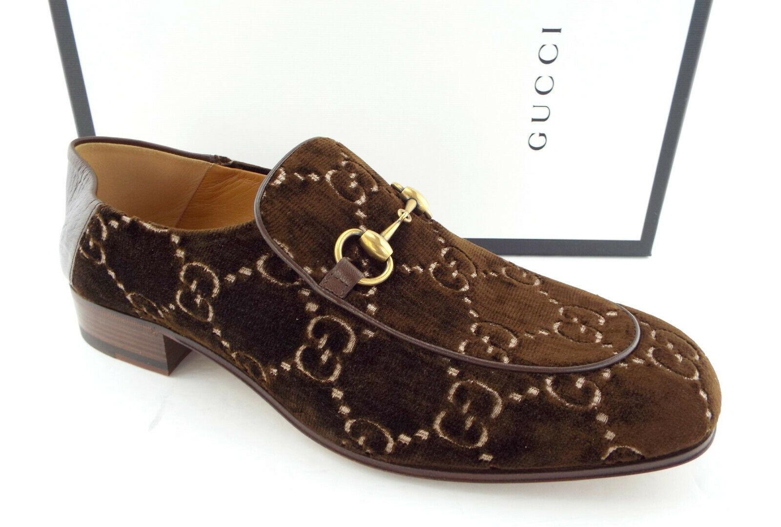 9fa95409912 New GUCCI Size 10.5 Brown Velvet GG Horsebit and 45 similar items