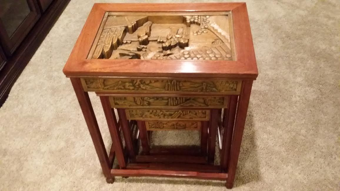 Chinese oriental carved wood stacking nesting side tables