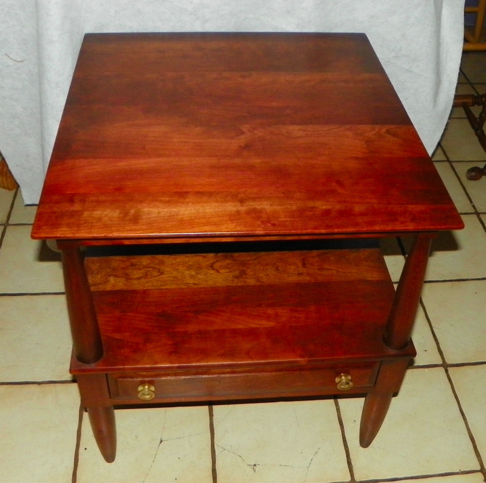 Solid cherry mid century end table side by willett
