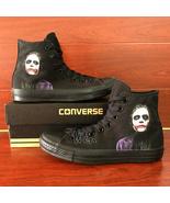 Men Women's Sneakers All Black Converse All Star Joker Design Hand Paint... - $159.00