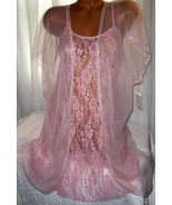 Stretch Lace Chemise and Robe Set 1X 2X Short Nightgown Light Pink 2 Piece - $23.00