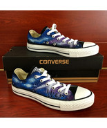 Low Top Galaxy Design Converse All Star Hand Painted Shoes Men Women's S... - $125.00