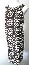 AGB Dress Size 14 Brown Black Tan Ivory Print Sleeveless Gold Buttons #37 - $20.24