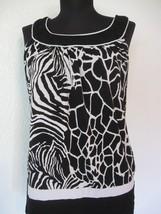 AGB Blouse Size Medium M Black White Print Sleeveless Knit Polyester Spa... - $13.49