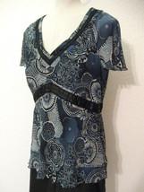 Nine West Top Blouse Size 14 Blue White Print C... - $21.59