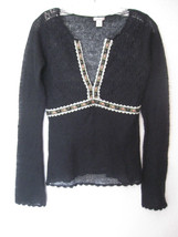 Urban Outfitters Lux Lux Light Pullover Sweater Size Medium Black Lace #744 - $14.17