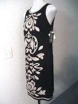 Inc. Dress Size Medium Black with Beige Embroidery Knit Sleeveless Lined... - $67.49