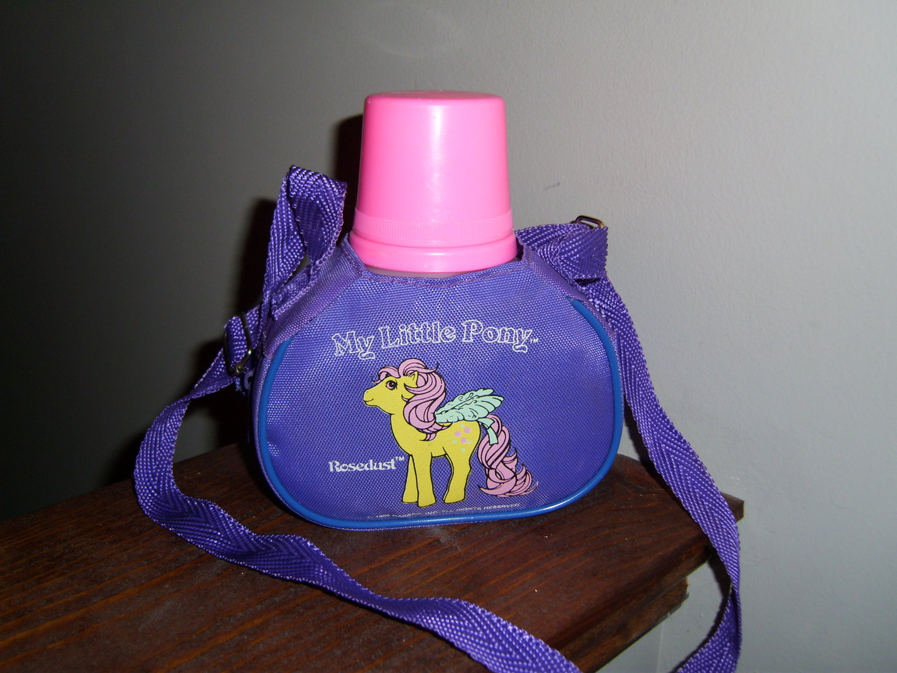 My Little Pony G1 purple canteen thermos with Rosedust
