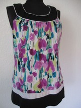 AGB Blouse Sz. Medium Black White Magenta Teal Print Knit Sleeveless #45 - $14.17