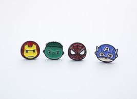 Set of 4 Superhero Stud Earrings , Iron man earrings, Spiderman Earrings... - $16.50