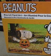 Peanuts halloween pre-lit yard art Snoopy Pumpkin 24 inches new - $61.70