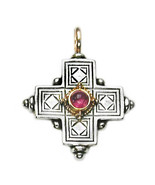 Gerochristo 5015 - Solid Gold, Silver & Tourmaline Byzantine Cross Pend... - $315.00