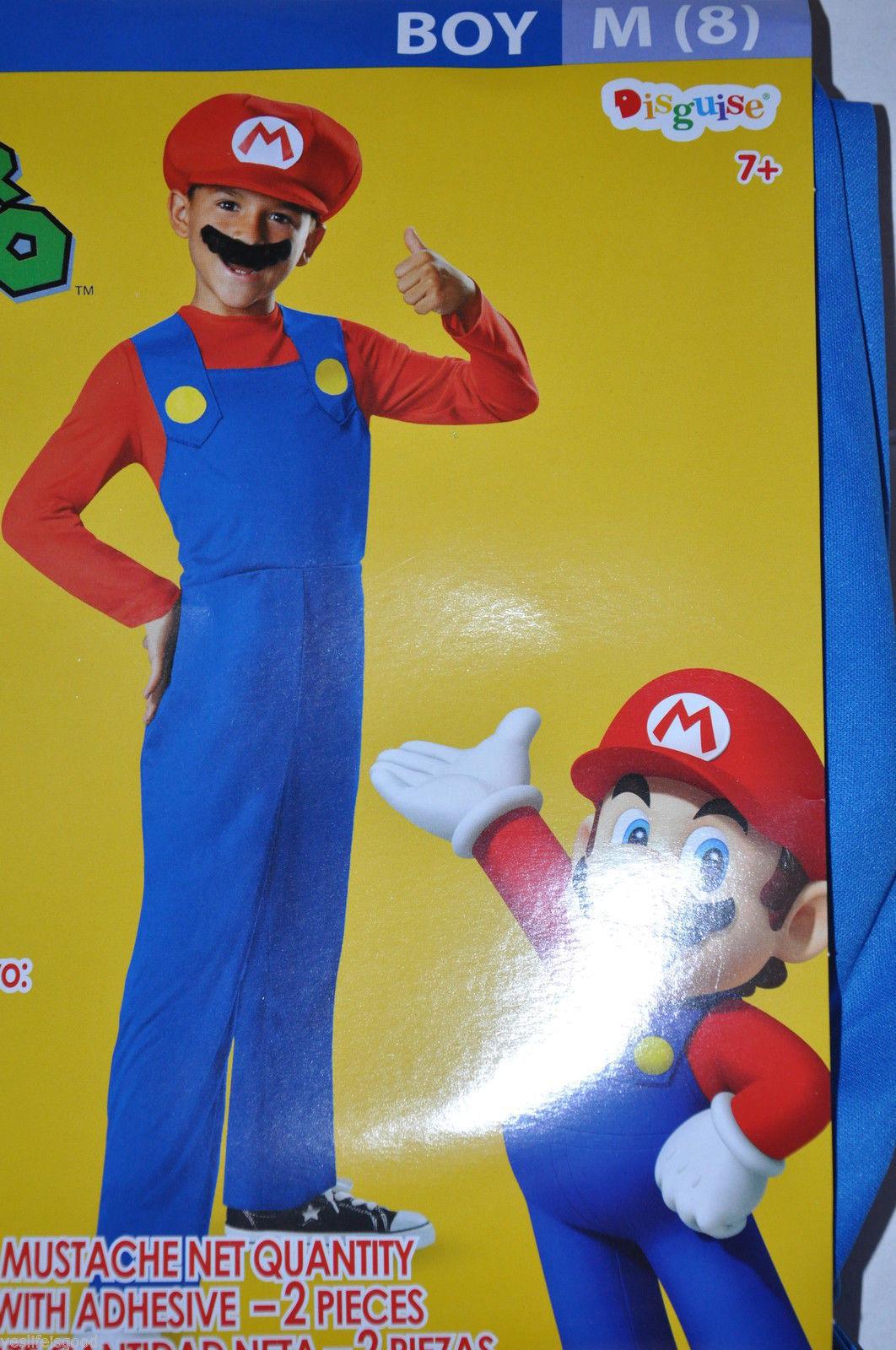 Super Mario Costume Child 8 Medium W/Jumpsuit Hat & Mustache NEW